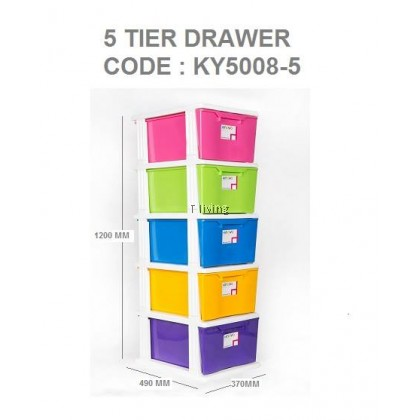 5 TIER DRAWER/PLASTIC DRAWER/COLOURFUL DRAWER/STORAGE CABINET/PLASTIC CONTAINER